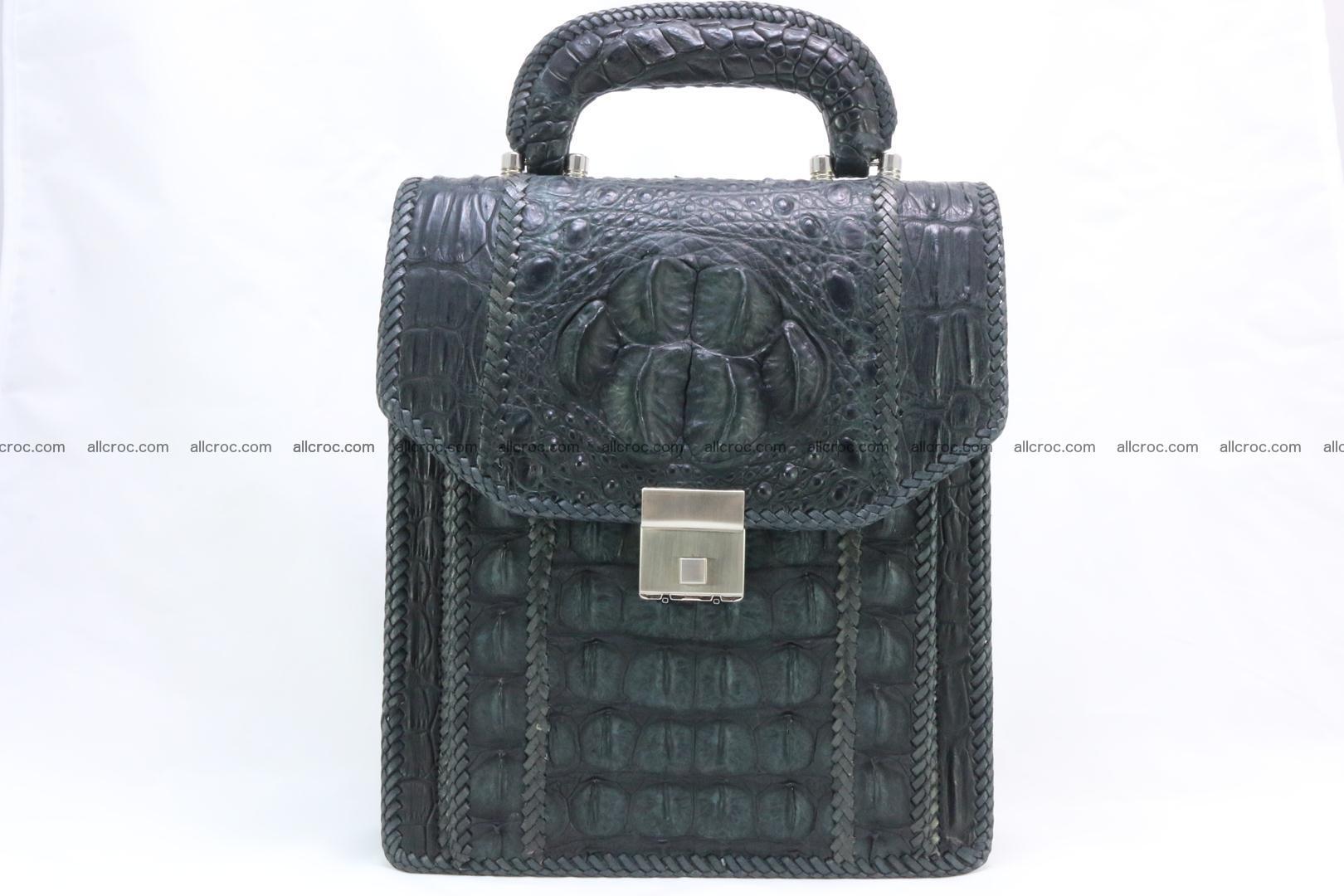Crocodile skin messenger bag braided edges 420 Foto 0