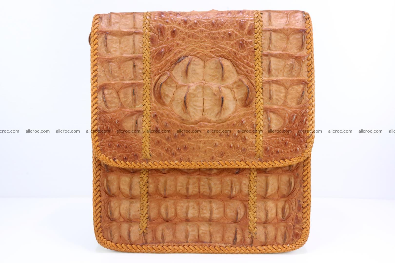 Сrocodile skin shoulder bag with braided edges 141 Foto 0