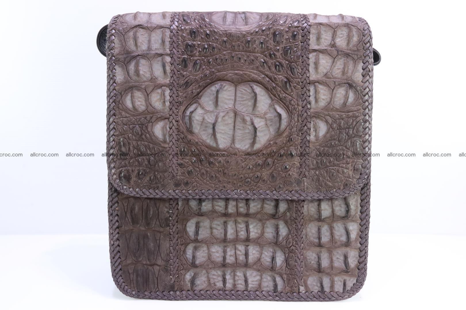 Сrocodile skin shoulder bag with braided edges 142 Foto 0