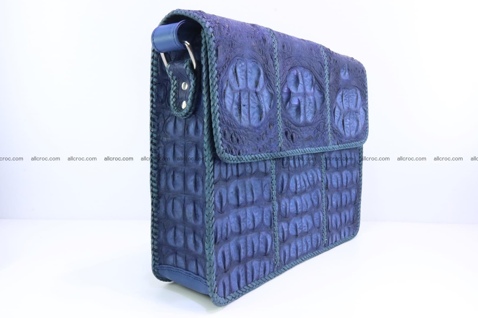 Crocodile skin shoulder bag with braided edges 144 Foto 2