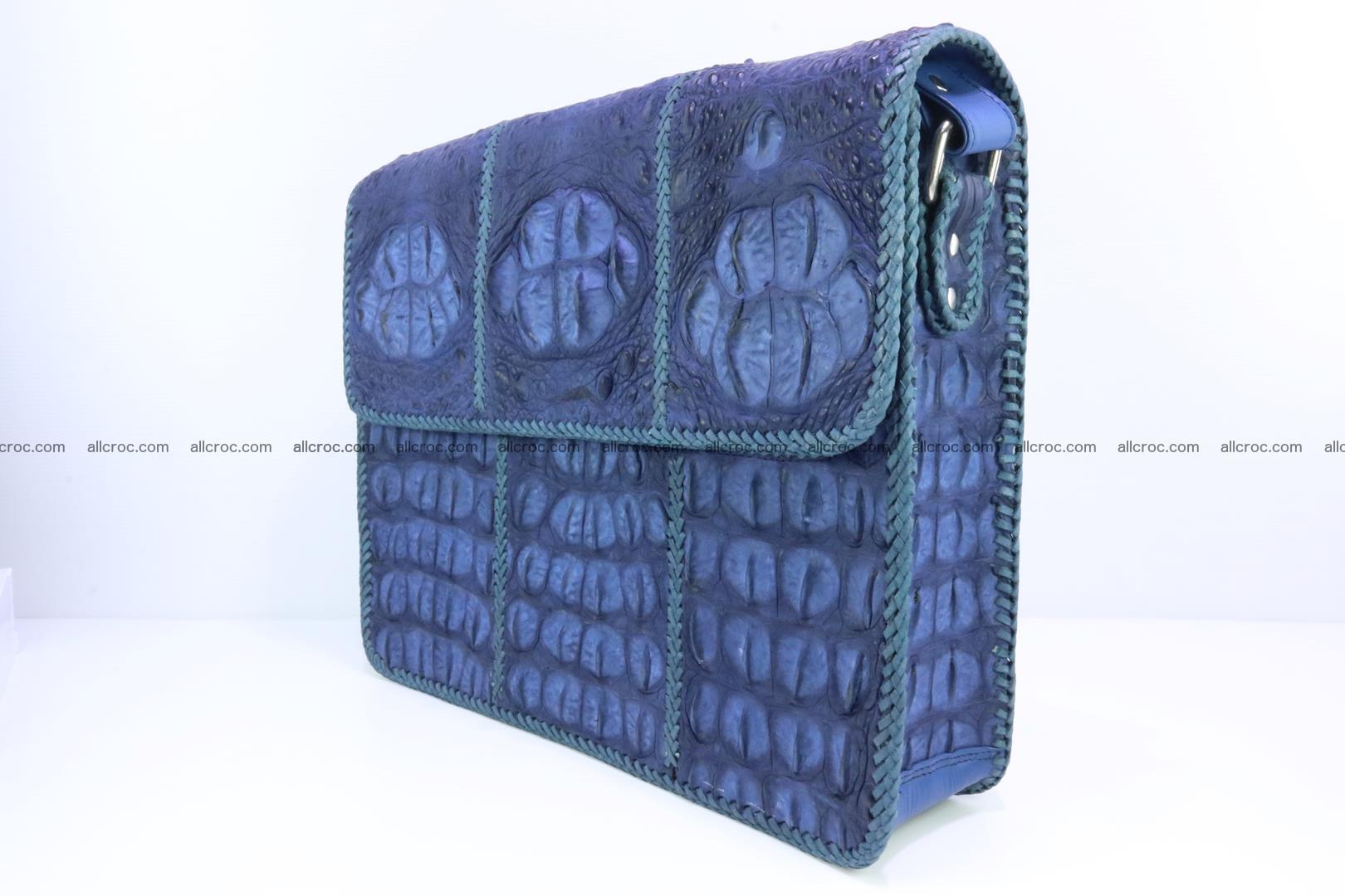 Crocodile skin shoulder bag with braided edges 144 Foto 3