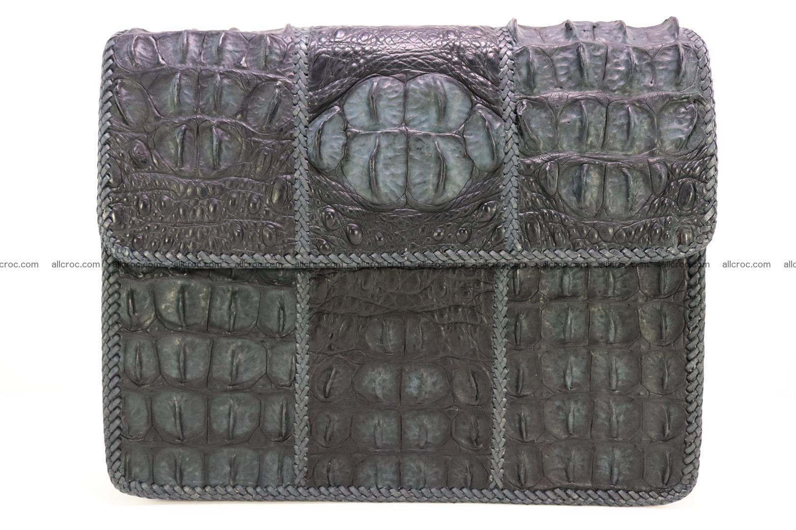 Crocodile skin shoulder bag with braided edges 146 Foto 0