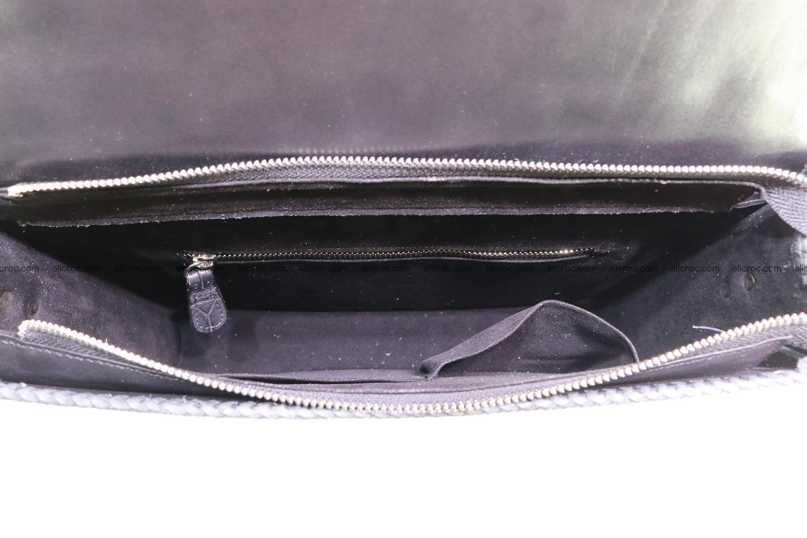 Crocodile skin shoulder bag with braided edges 146 Foto 12