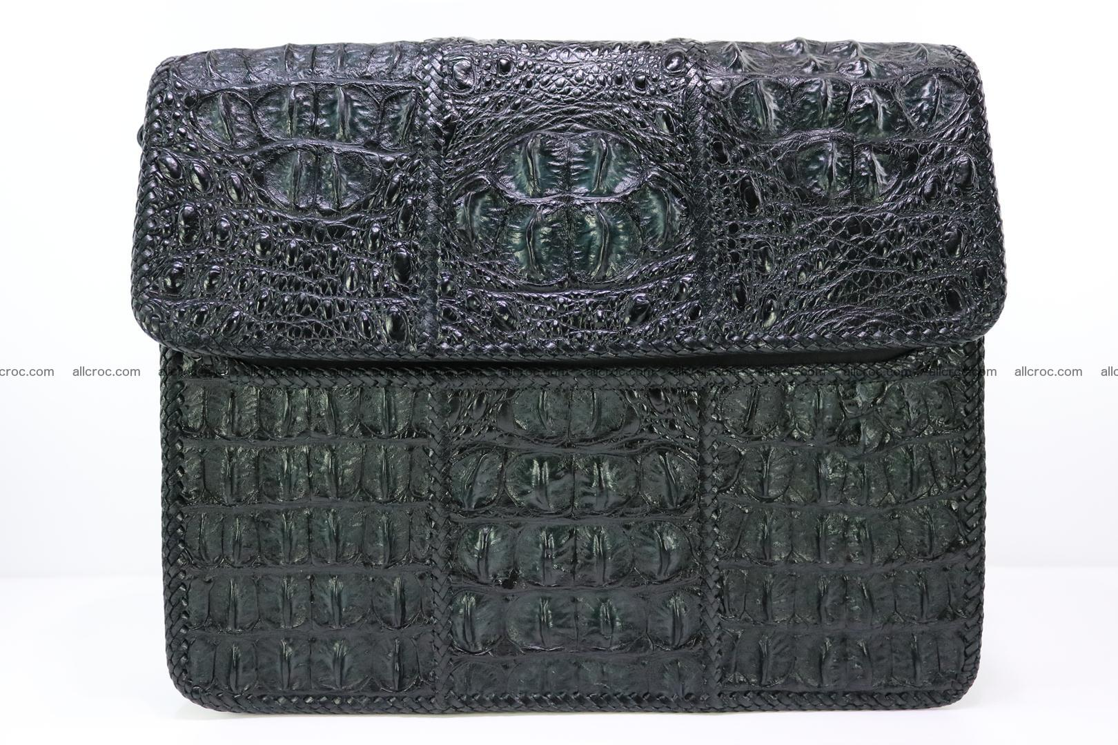 Crocodile skin shoulder bag with braided edges 147