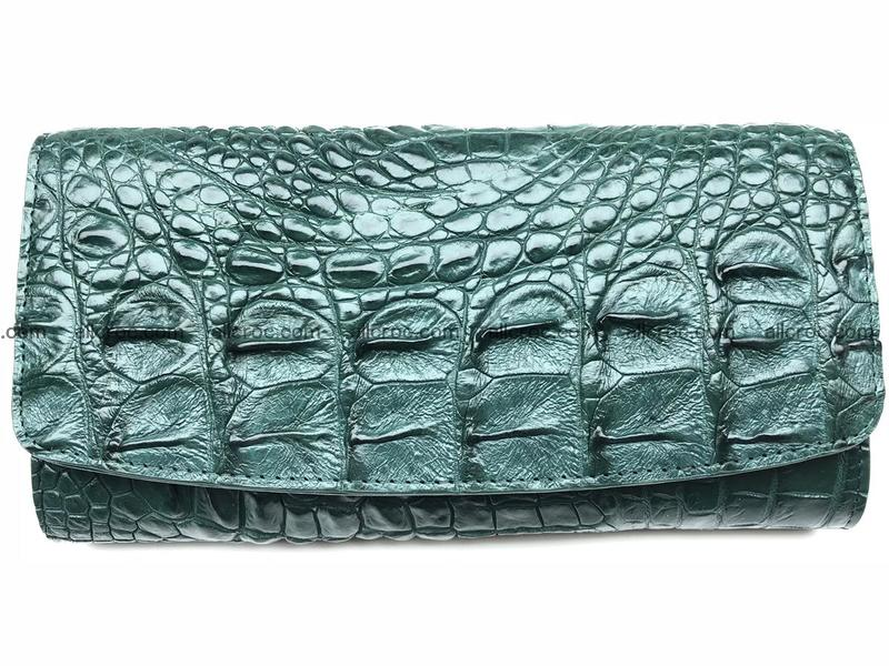 Genuine Crocodile skin trifold wallet, long wallet for women from Horn-back part of Siamese crocodile skin 478
