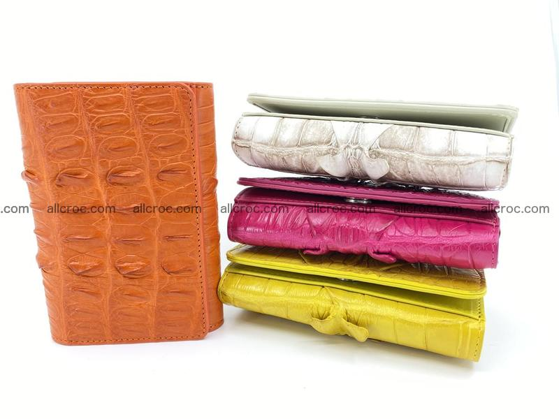 Genuine siamese crocodile leather wallet for women with pocket for coins Siamese crocodile skin tail part orange color