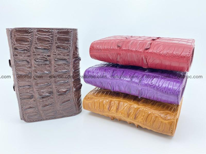 Genuine Siamese crocodile skin wallet for women with coin purse, coffee color, tail part of crocodile skin