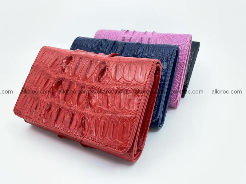 Genuine Siamese crocodile skin wallet for women with coin purse, fuchsia color, tail part of crocodile skin