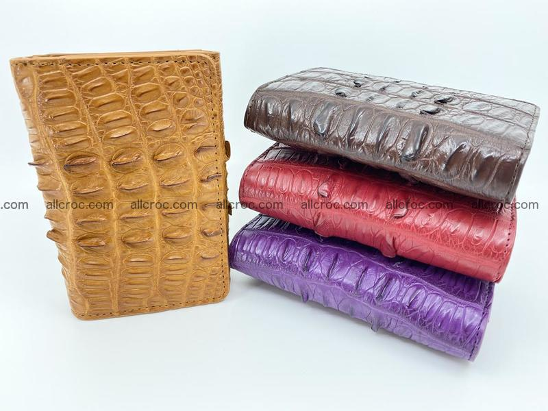 Genuine Siamese crocodile skin wallet for women with coin purse, light brown color, tail part of siamese crocodile skin