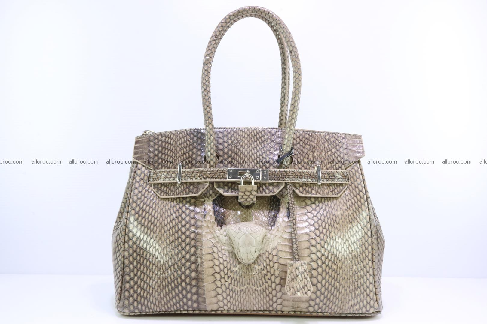 Handbag for lady from cobra skin copy of Birkin with cobra head 190 Foto 0