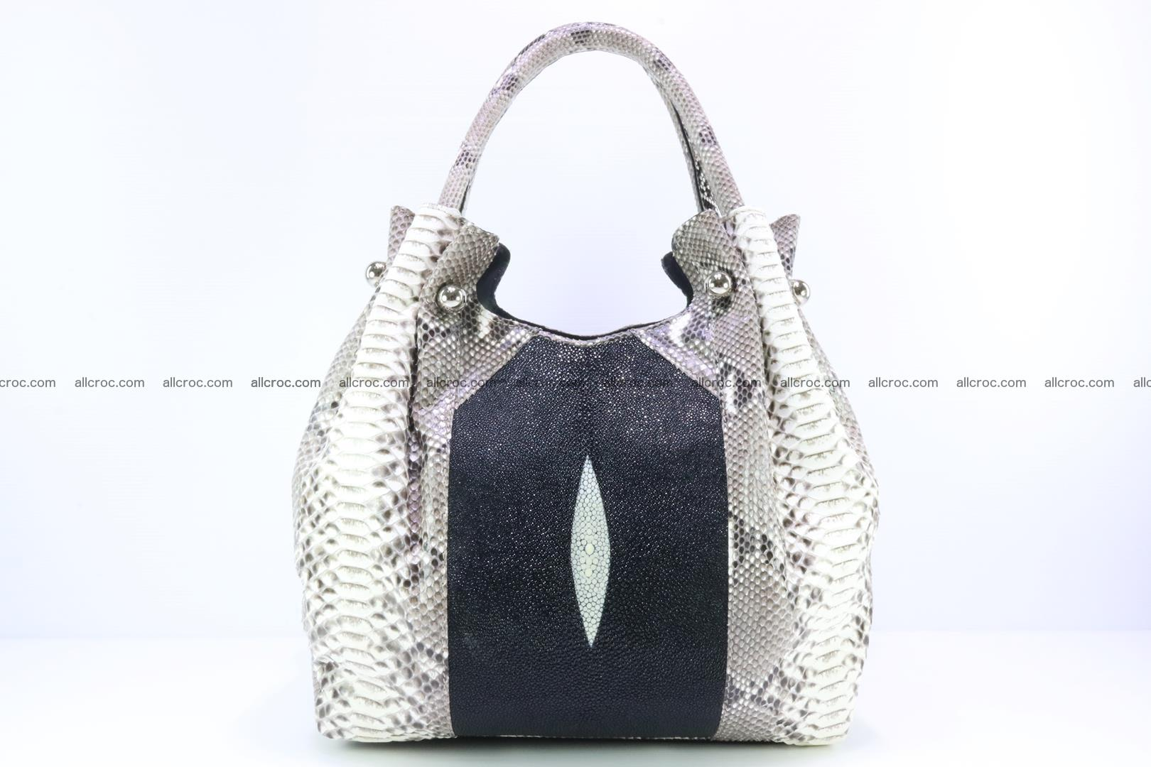 Handbag for lady from Python and stingray skin 166 Foto 0