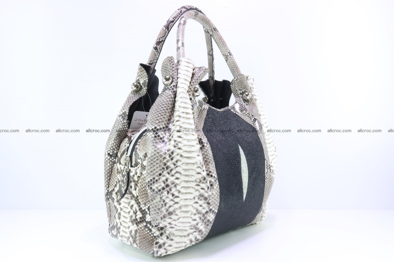 Handbag for lady from Python and stingray skin 166 Foto 2