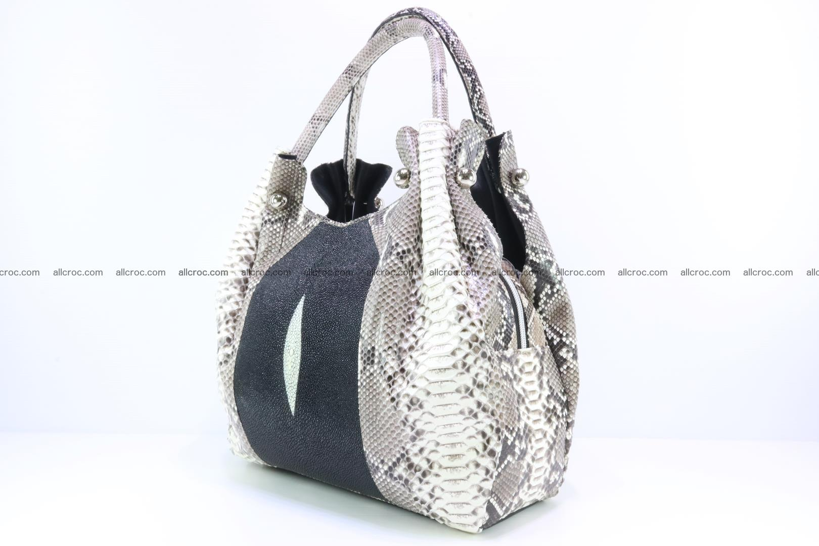 Handbag for lady from Python and stingray skin 166 Foto 1