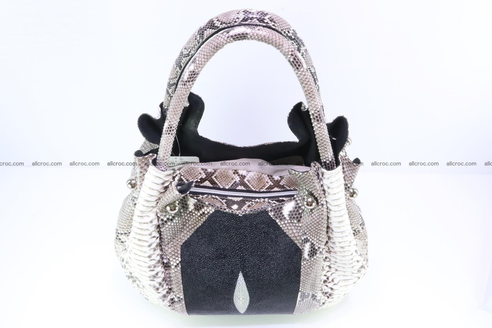 Handbag for lady from Python and stingray skin 166 Foto 3