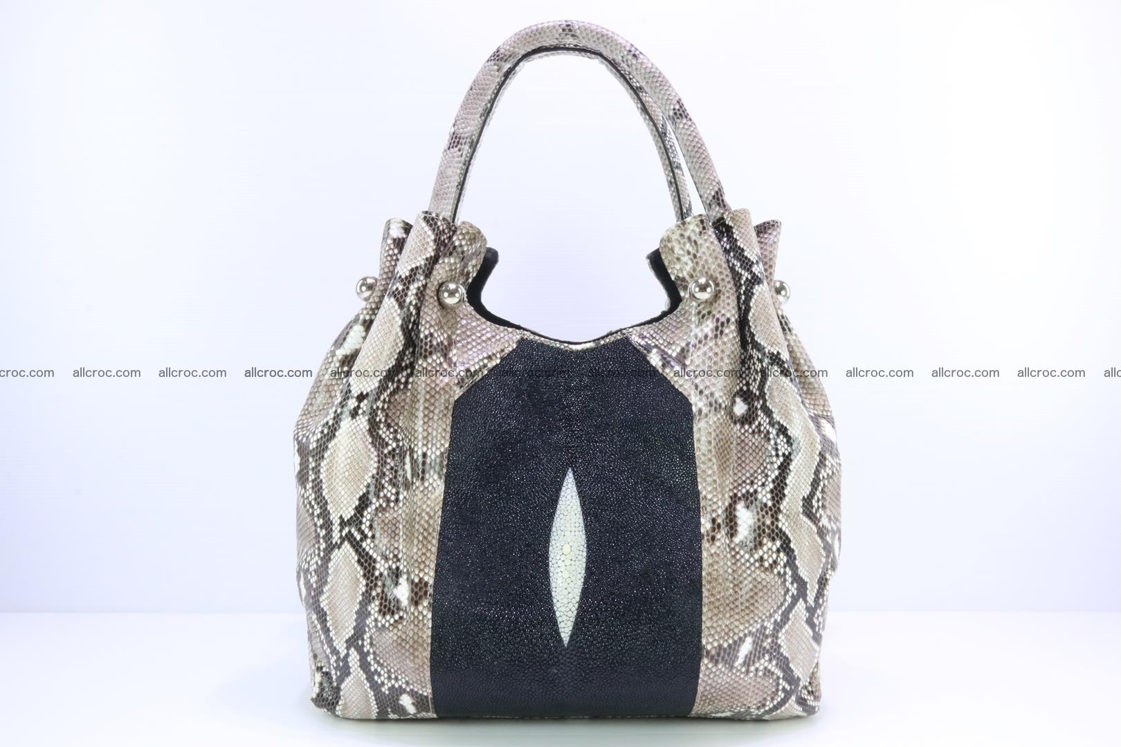 Handbag for lady from Python and stingray skin 167 Foto 0