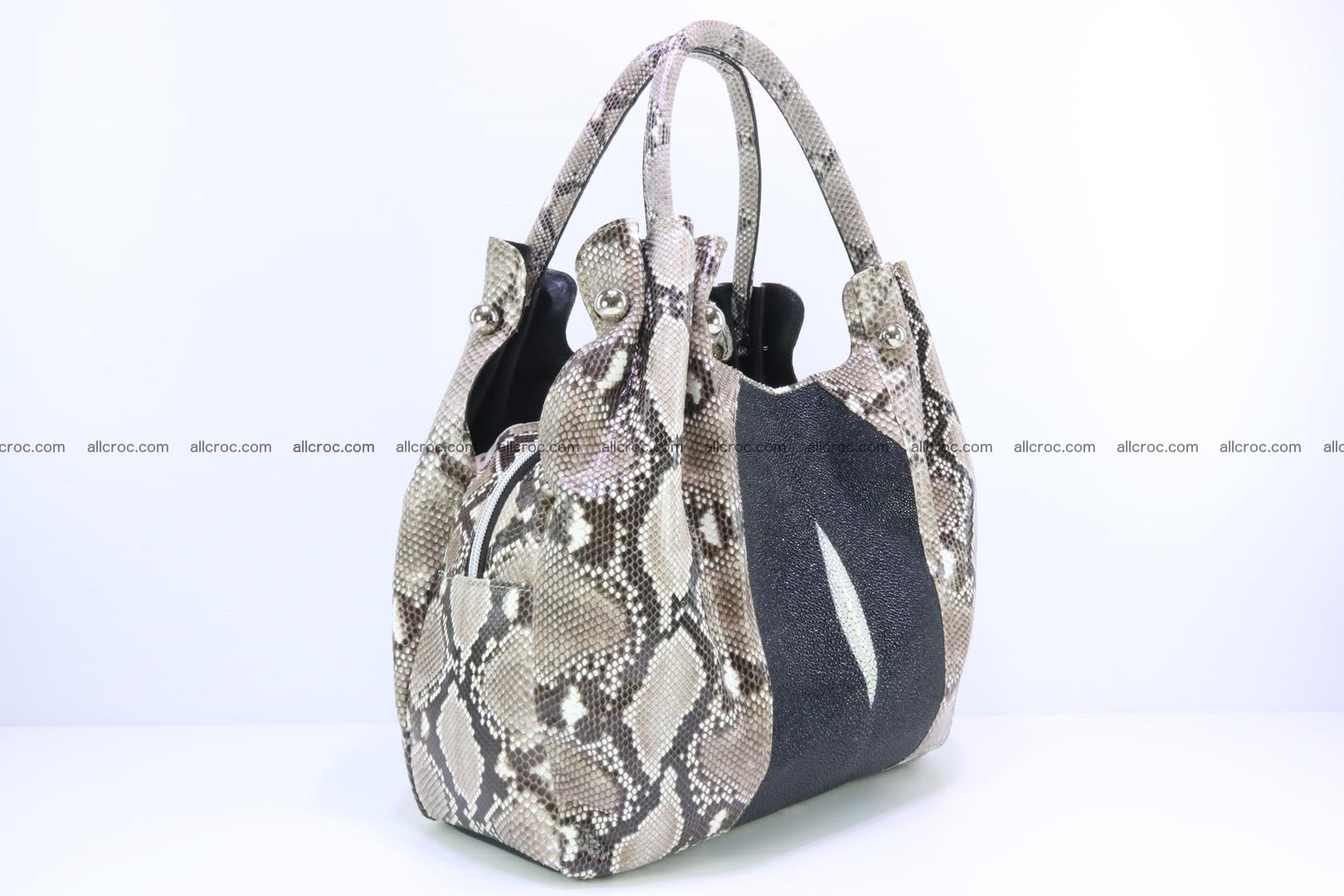 Handbag for lady from Python and stingray skin 167 Foto 1