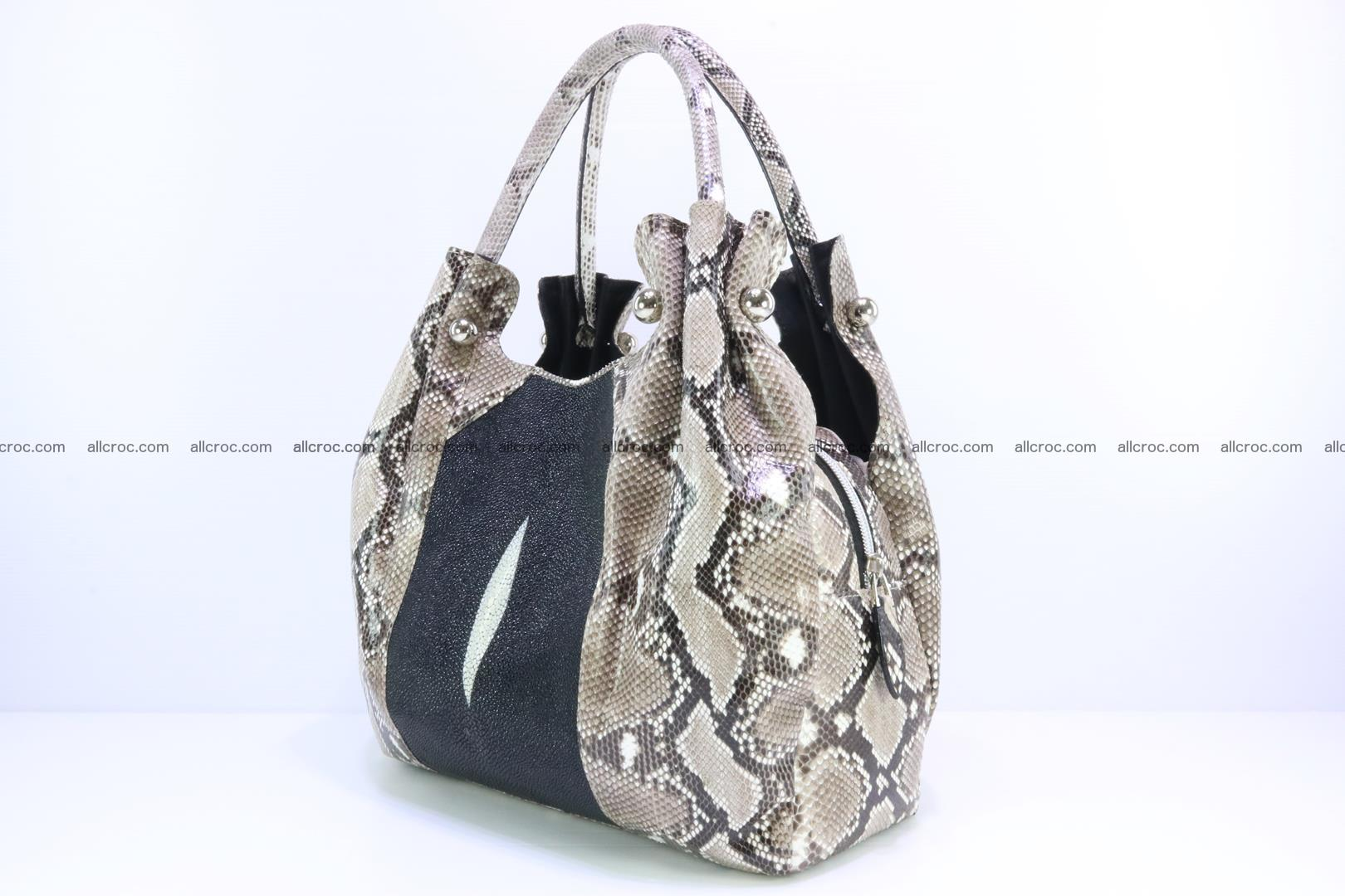 Handbag for lady from Python and stingray skin 167 Foto 2