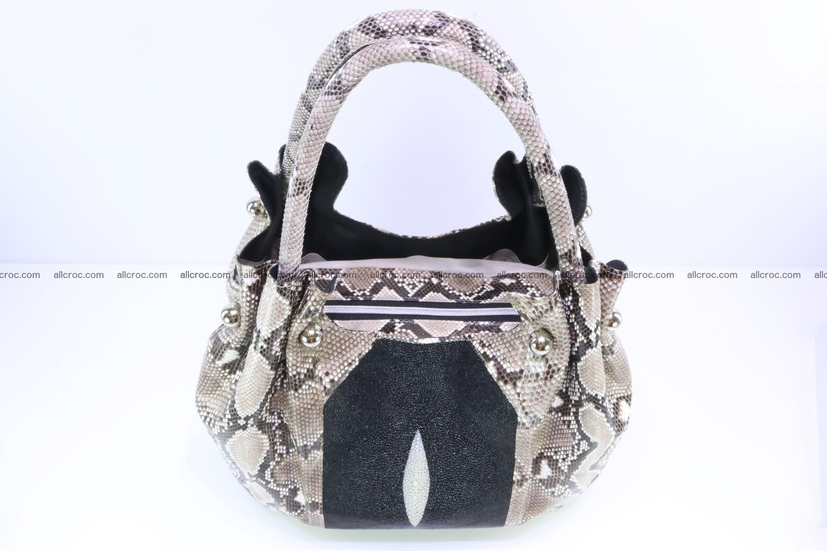 Handbag for lady from Python and stingray skin 167 Foto 3