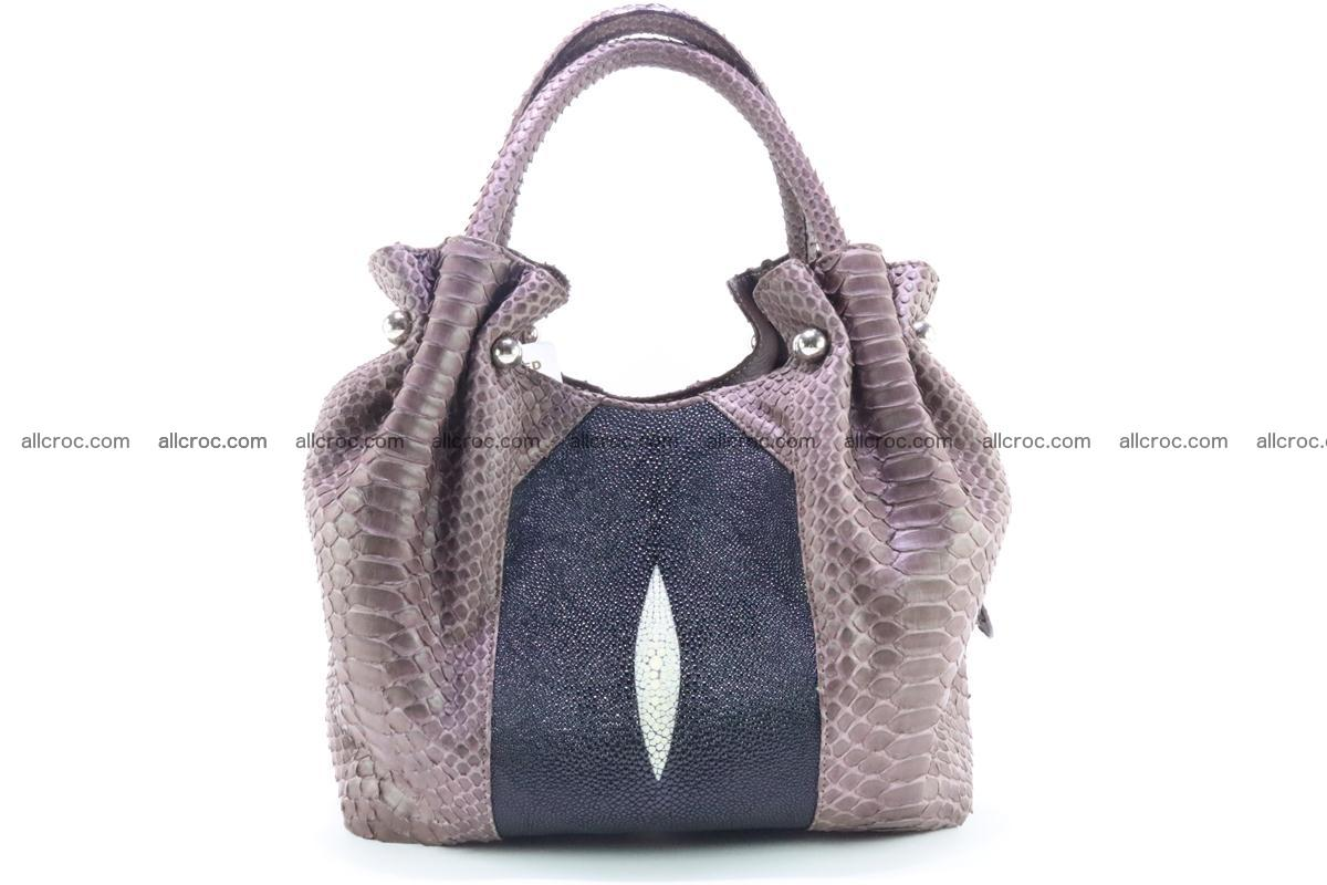Handbag for women from genuine python and stingray leather 256 Foto 0