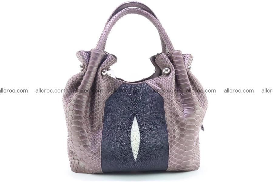Handbag for women from genuine python and stingray leather 256