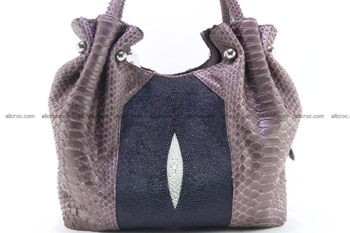 Handbag for women from genuine python and stingray leather 256 Foto 6
