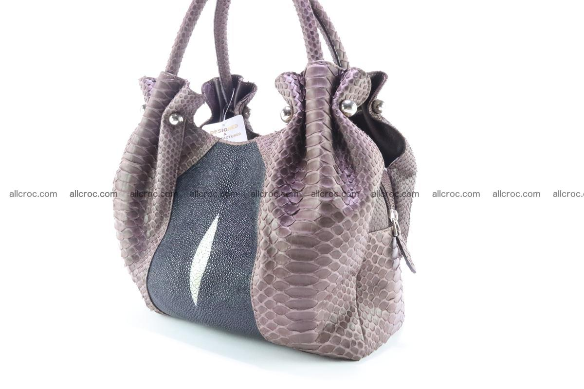 Handbag for women from genuine python and stingray leather 256 Foto 2