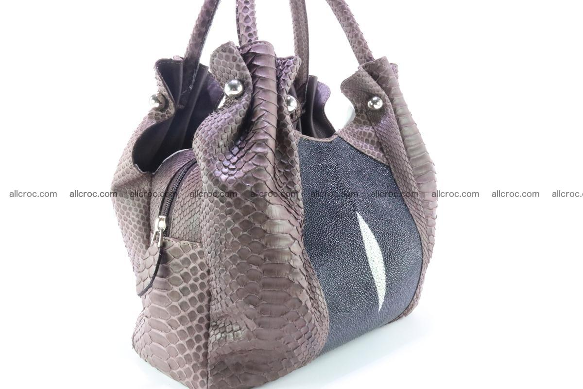 Handbag for women from genuine python and stingray leather 256 Foto 4