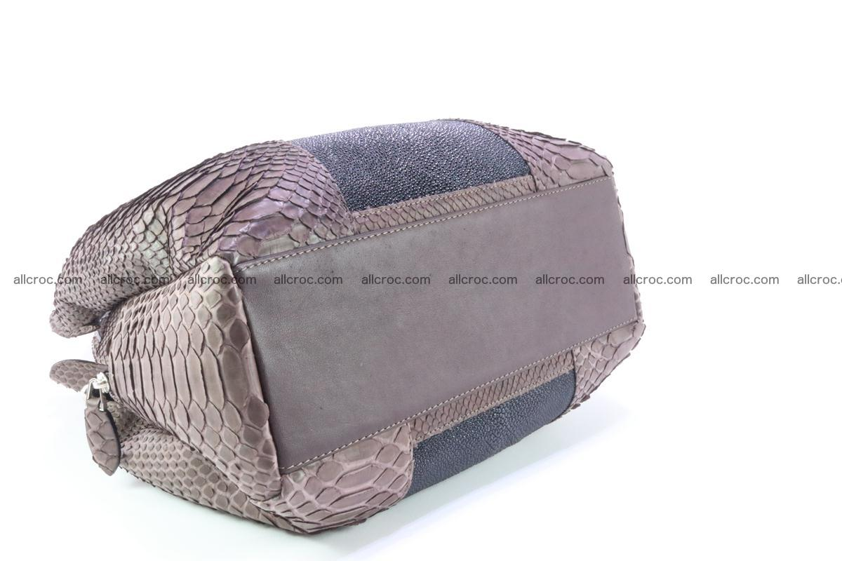 Handbag for women from genuine python and stingray leather 256 Foto 3