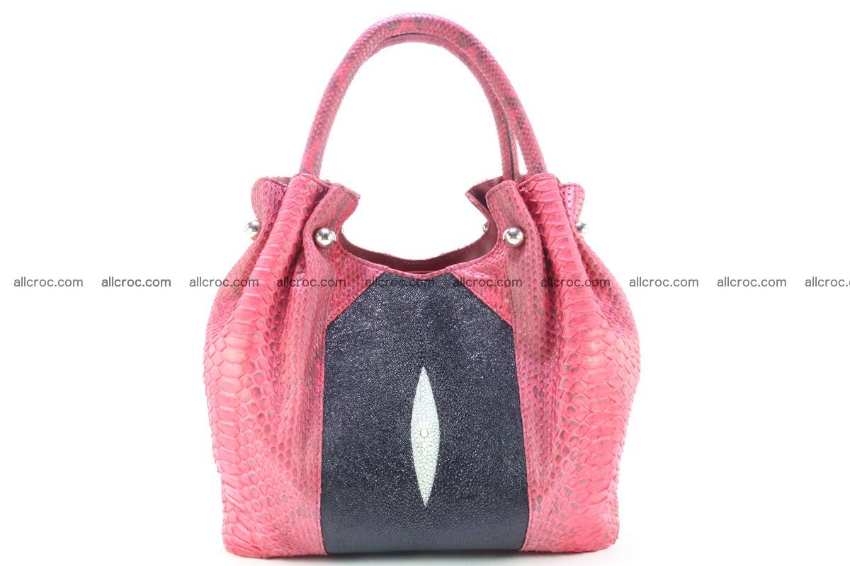 Handbag for women from genuine python and stingray leather 257 Foto 0