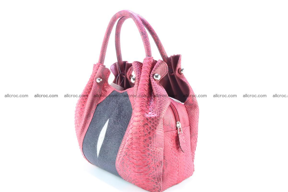 Handbag for women from genuine python and stingray leather 257 Foto 2