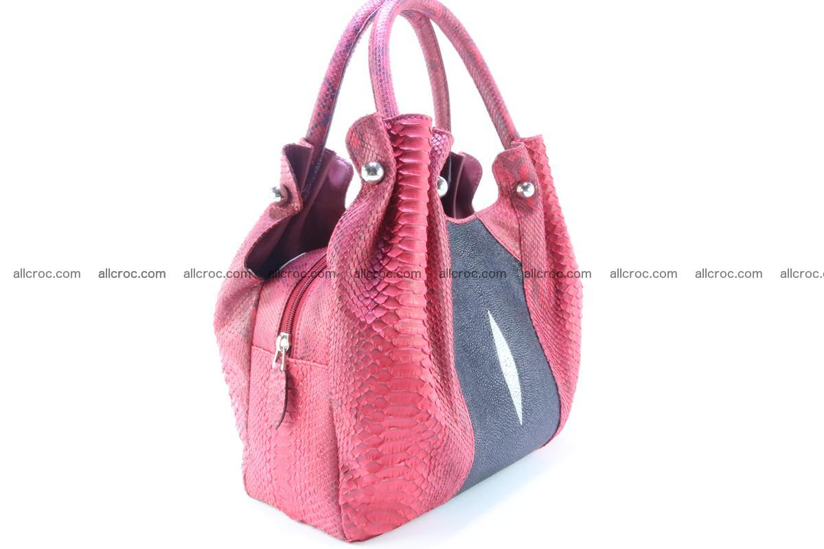 Handbag for women from genuine python and stingray leather 257 Foto 3