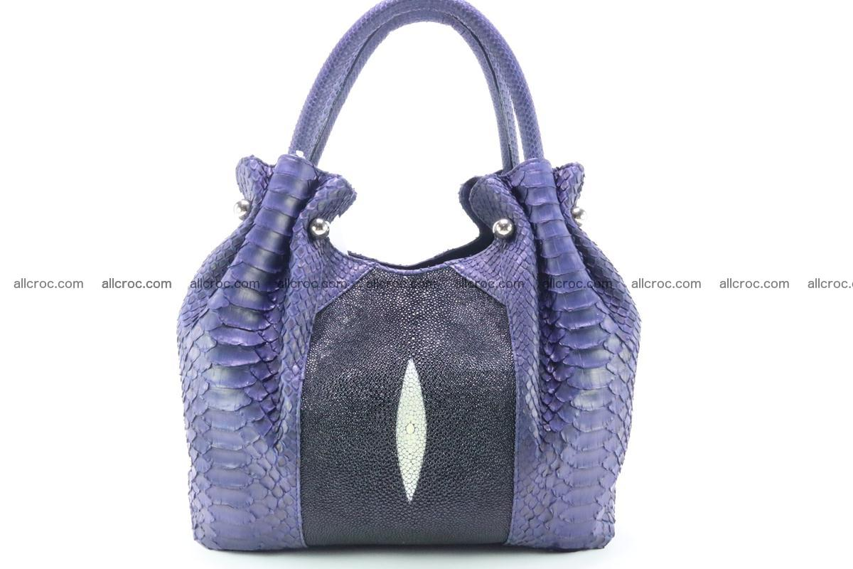 Handbag for women from genuine python and stingray leather 258 Foto 0