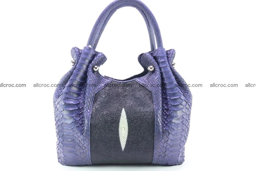 Handbag for women from genuine python and stingray leather 258
