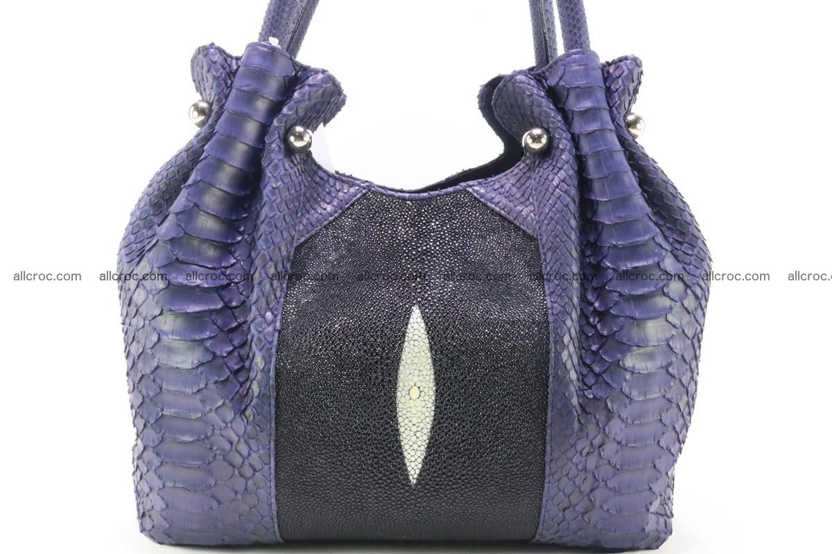 Handbag for women from genuine python and stingray leather 258 Foto 2