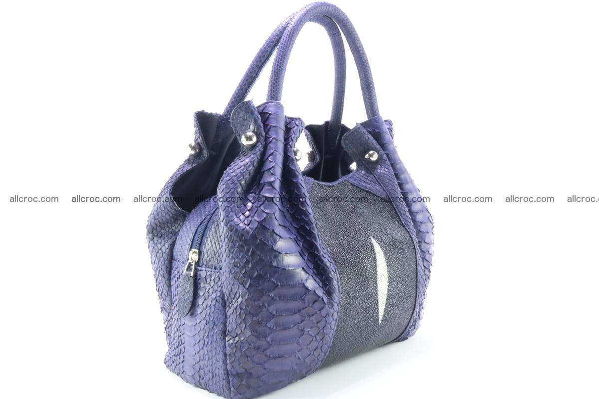 Handbag for women from genuine python and stingray leather 258 Foto 1