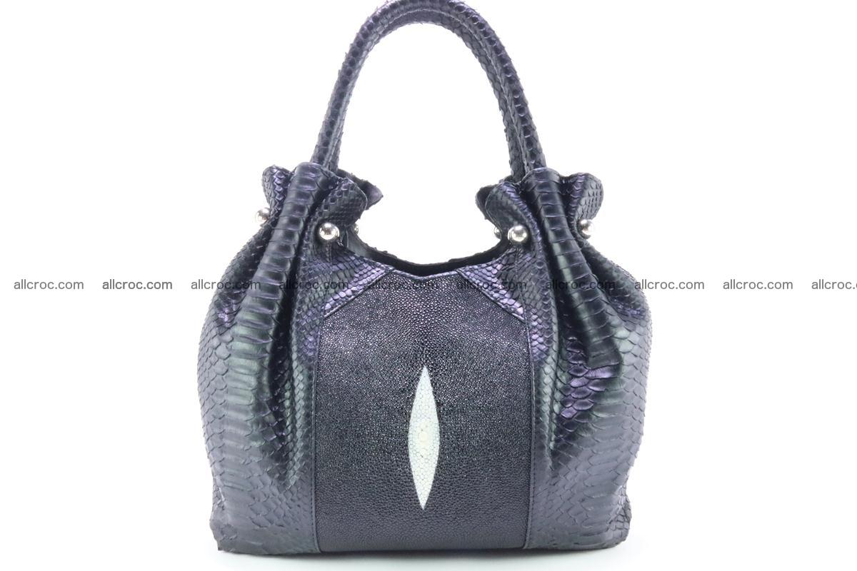 Handbag for women from genuine python and stingray leather 259 Foto 0