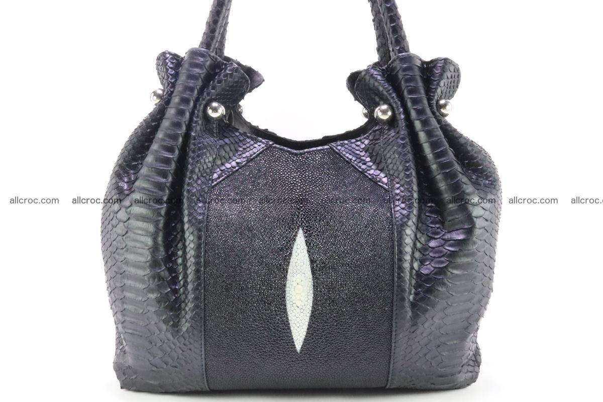 Handbag for women from genuine python and stingray leather 259 Foto 1