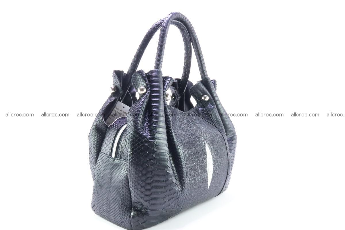 Handbag for women from genuine python and stingray leather 259 Foto 3