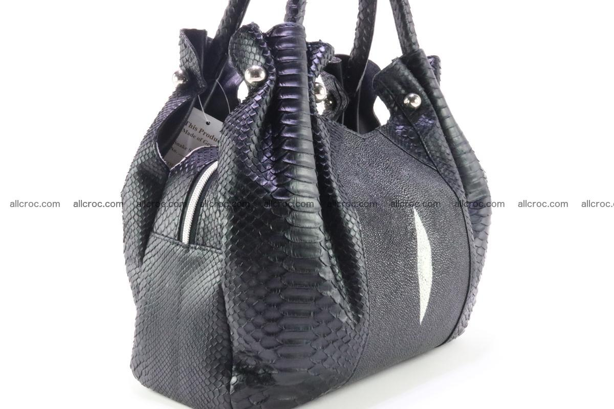 Handbag for women from genuine python and stingray leather 259 Foto 2