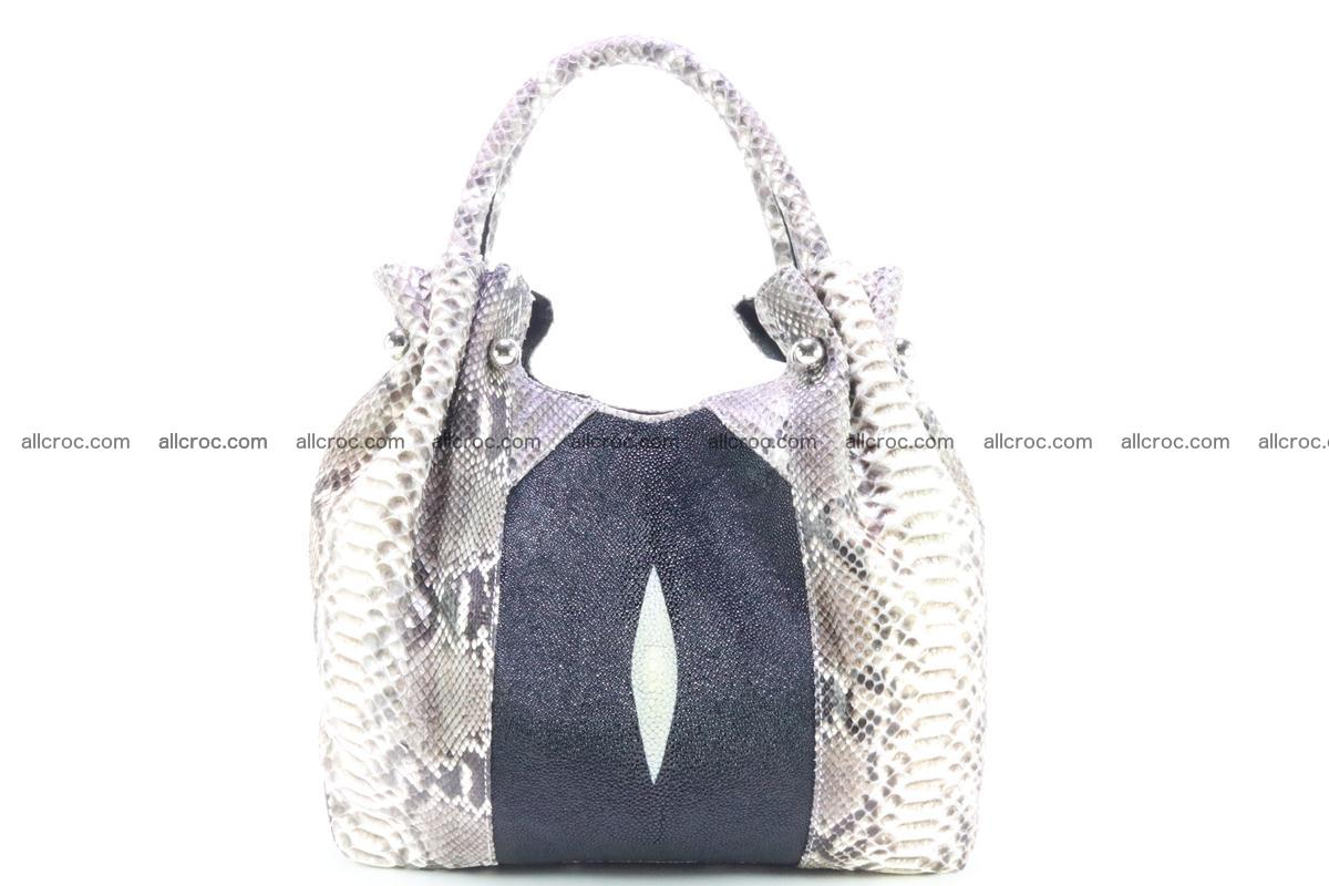 Handbag for women from genuine python and stingray leather 260 Foto 0