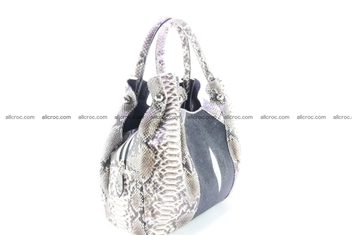 Handbag for women from genuine python and stingray leather 260 Foto 2