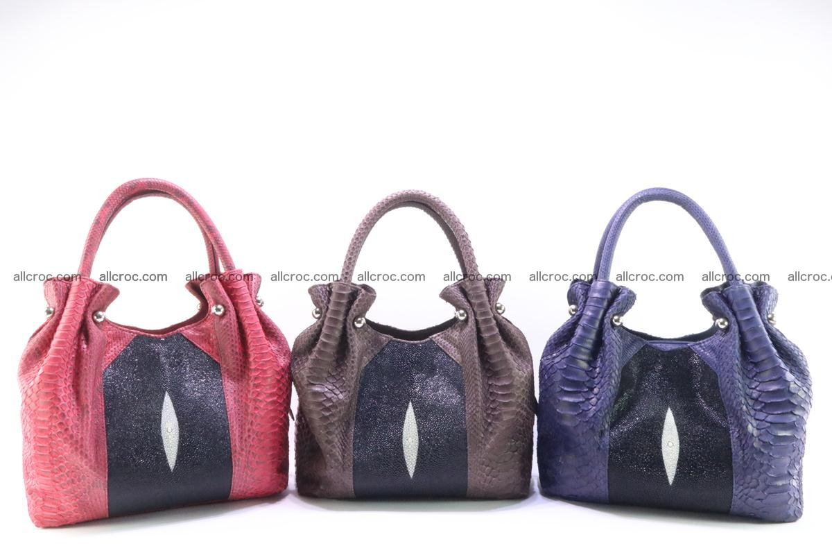 Handbag for women from genuine python and stingray leather 256 Foto 12