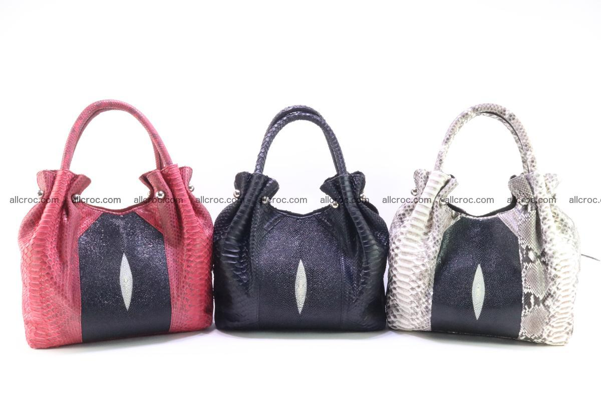Handbag for women from genuine python and stingray leather 258 Foto 12