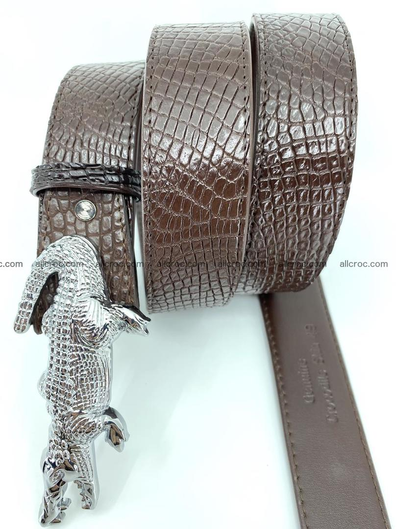 Handcrafted Crocodile leather belt 759 Foto 4