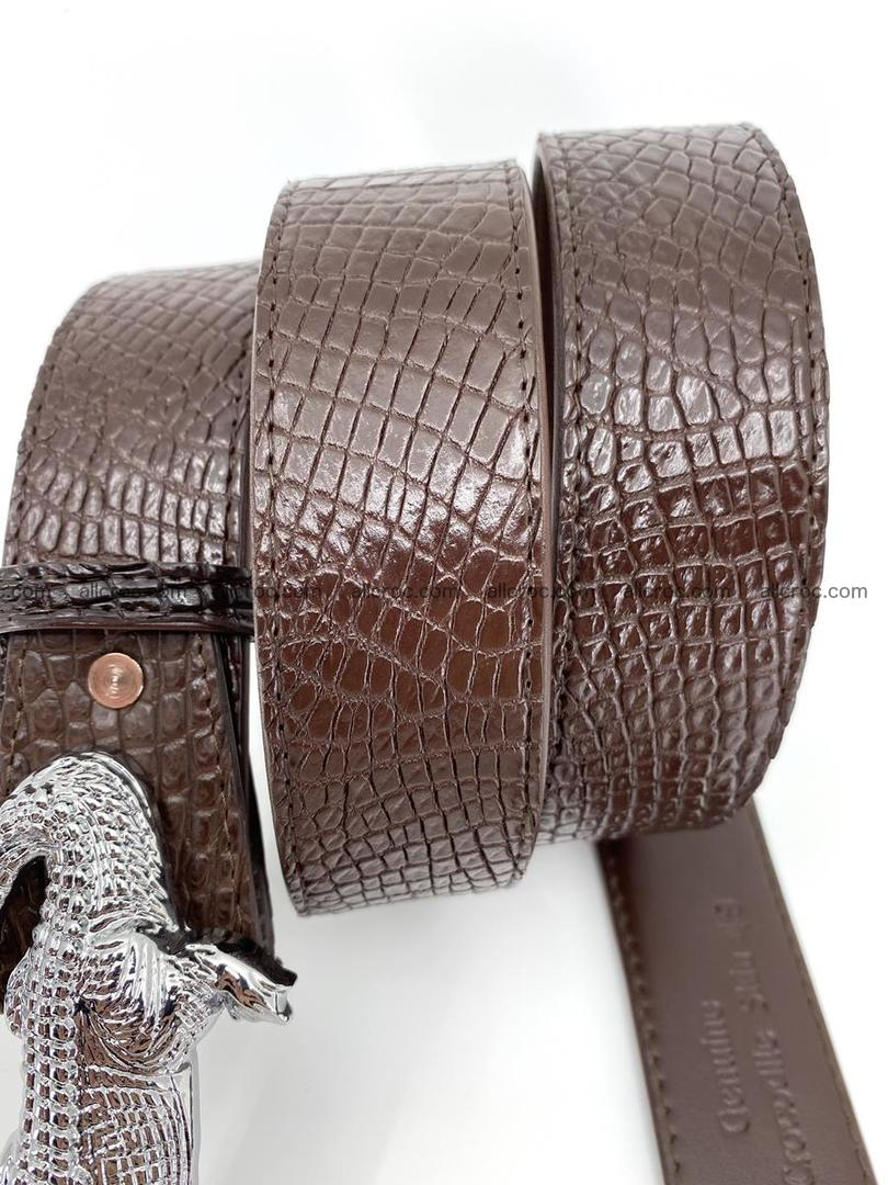 Handcrafted Crocodile leather belt 759 Foto 5