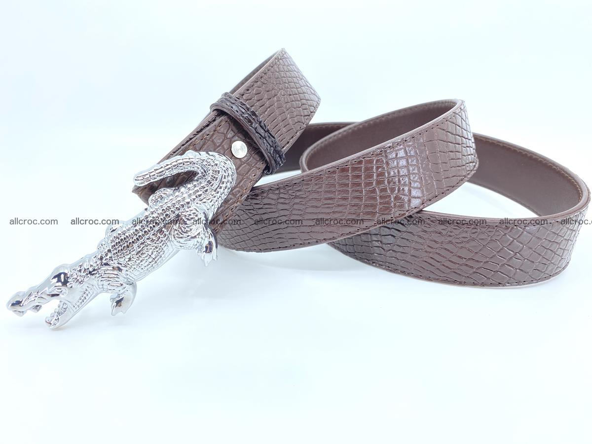 Handcrafted Crocodile leather belt 759 Foto 6