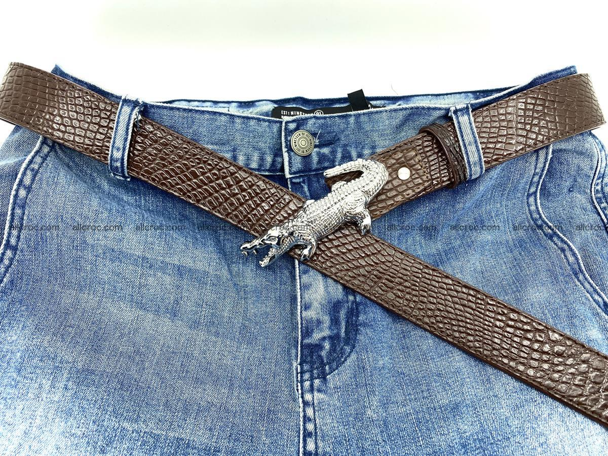 Handcrafted Crocodile leather belt 759 Foto 8