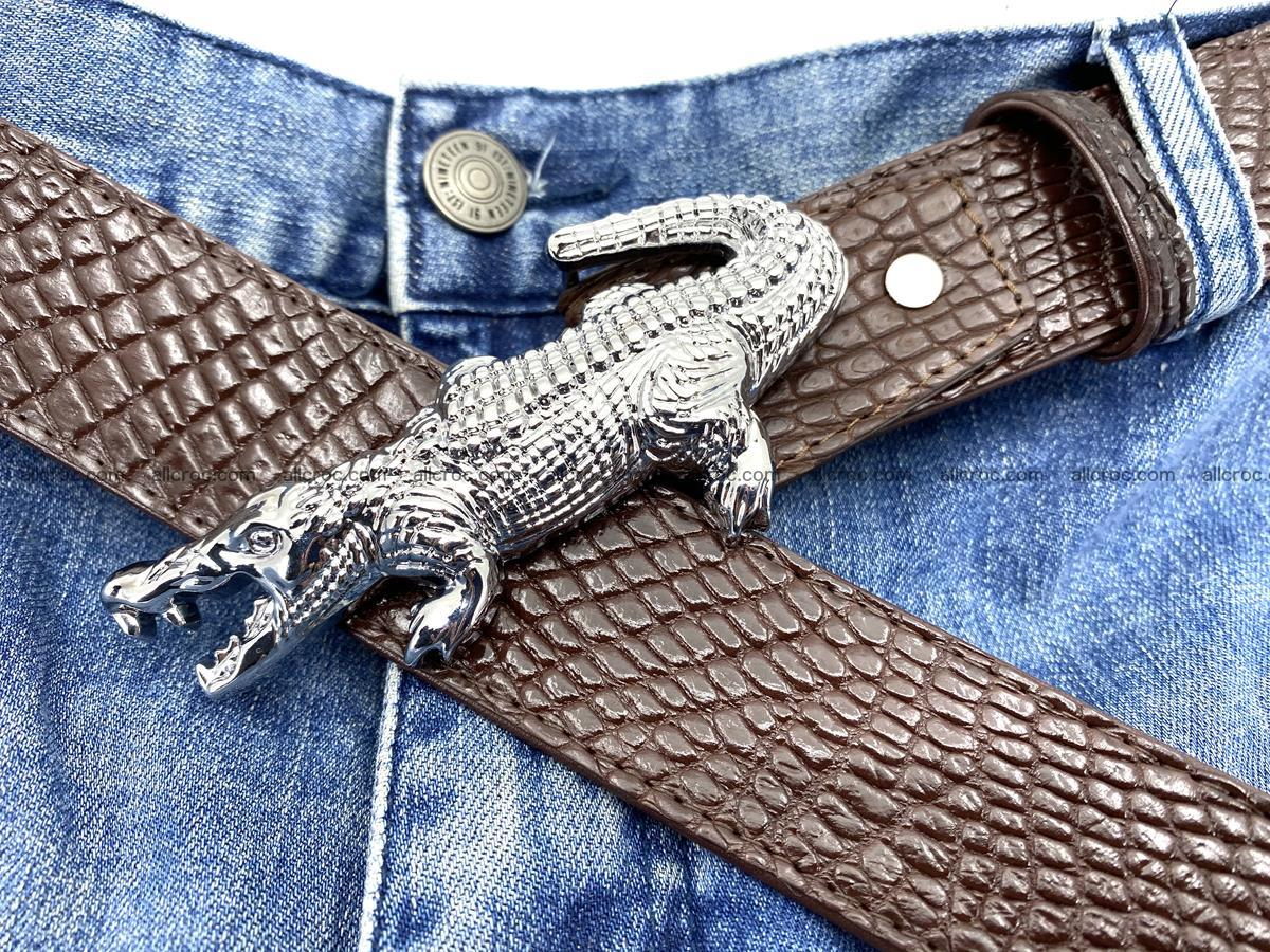 Handcrafted Crocodile leather belt 759 Foto 9