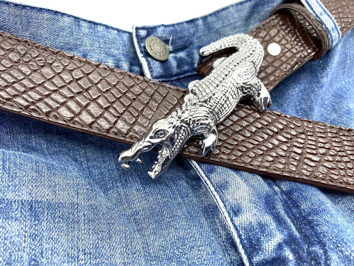 Handcrafted Crocodile leather belt 759 Foto 10