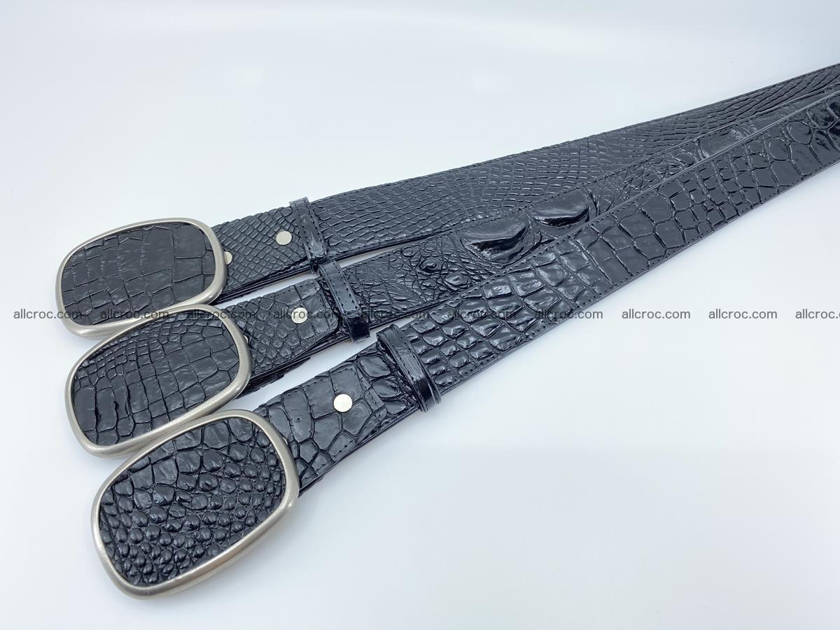 Handcrafted Crocodile leather belt 778 Foto 7